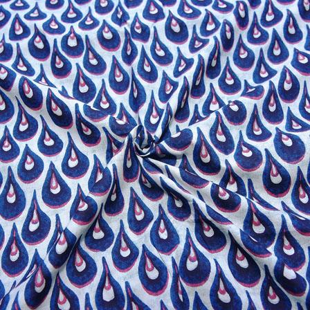 White and Blue Unique Design Block Print Cotton Fabric-14186