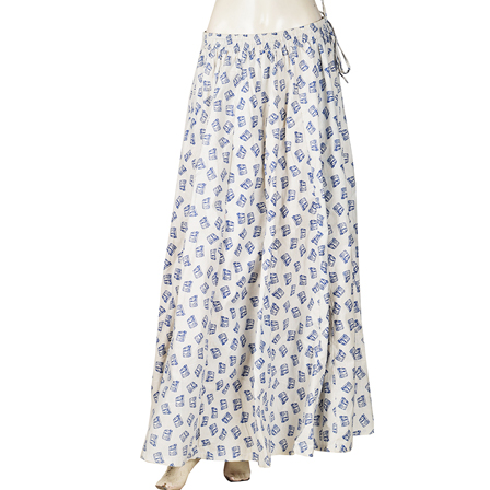 White and Blue Vehicle Design  Block Print Cotton Long Skirt-23060