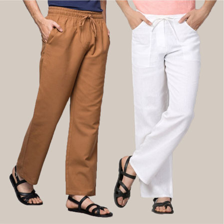 Combo of 2 Cotton Men Handloom Pant White and Brown-35973