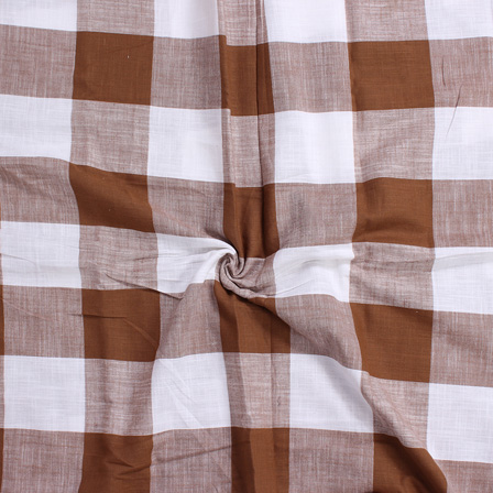 White and Brown Large Slub Checks Handloom Cotton Fabric-40046