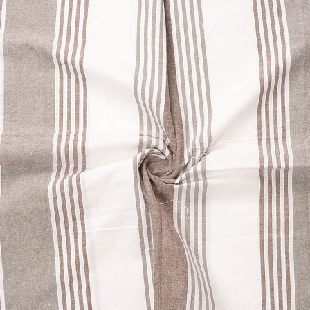 White and Brown Lining Design Cotton Block Print Fabric-40191
