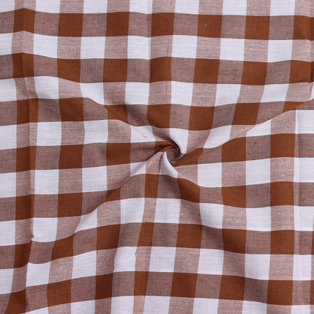 White and Brown Tom Tom Checks Handloom Cotton Fabric-40029