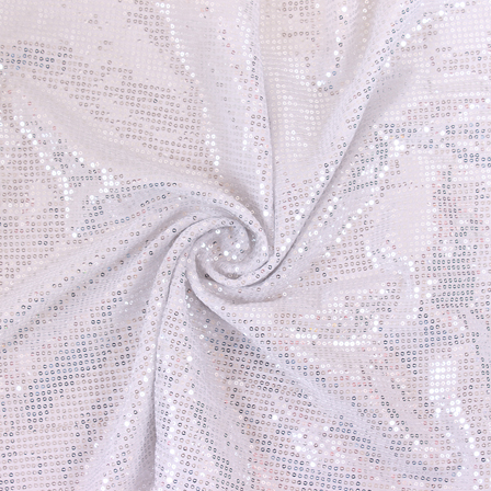 White and Golden Shiny Sequin Fabric-60813