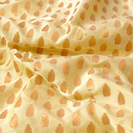 White and Golden flower shape brocade silk fabric-4685