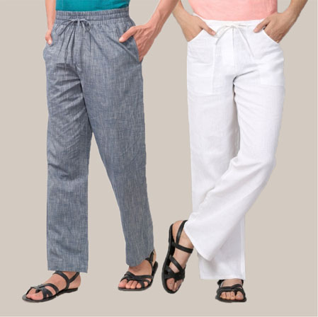 Combo of 2 Cotton Men Handloom Pant White and Gray-35969