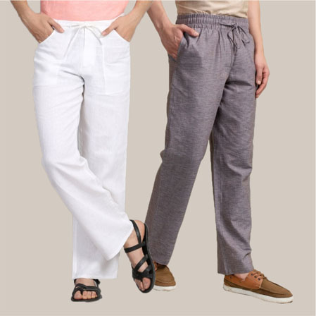 Combo of 2 Cotton Men Handloom Pant White and Gray-35974