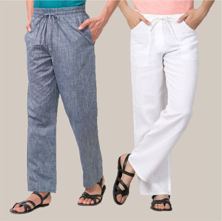 Combo of 2 Cotton Men Handloom Pant White and Gray-35975