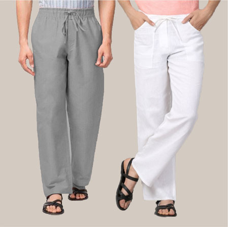Combo of 2 Cotton Men Handloom Pant White and Gray-35977
