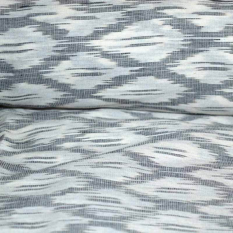 White and Gray Ikat Fabric By The Yard
