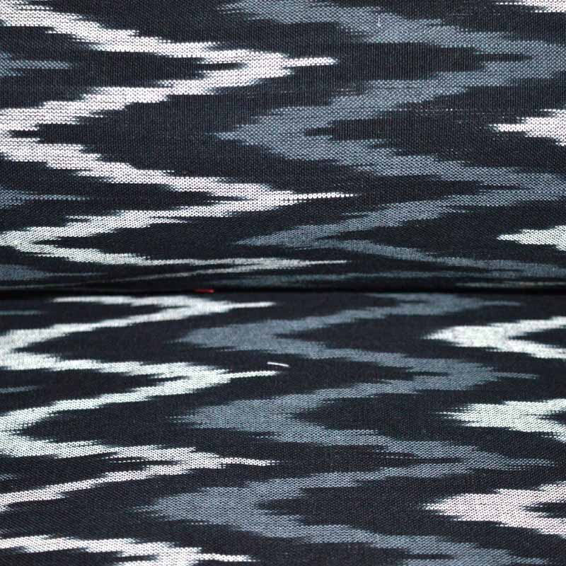 White and Gray Zig Zag Pattern Ikat Print Blouse Fabric on Black Ikat