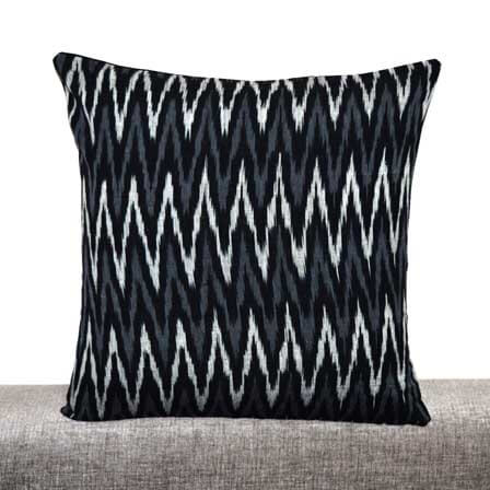 White and Gray Zig Zag Pattern Ikat Print  on Black Ikat Cushion Cover
