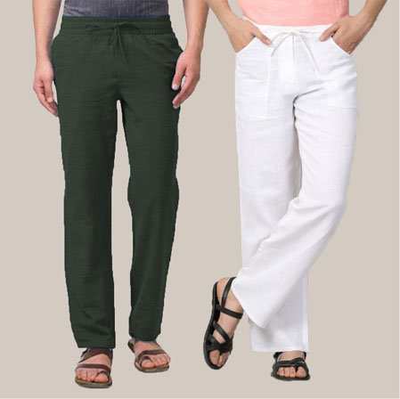 Combo of 2 Cotton Men Handloom Pant White and Green-35971