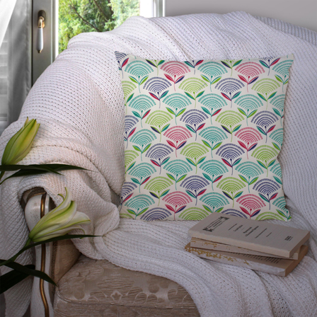 White and Green Cotton Cushion Cover-35040