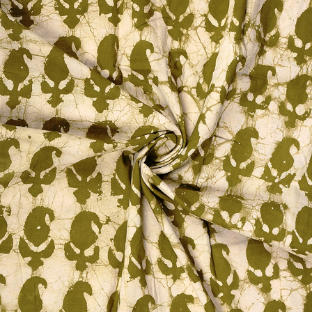 White and Green Paisley Design Cotton Block Print Fabric-14356