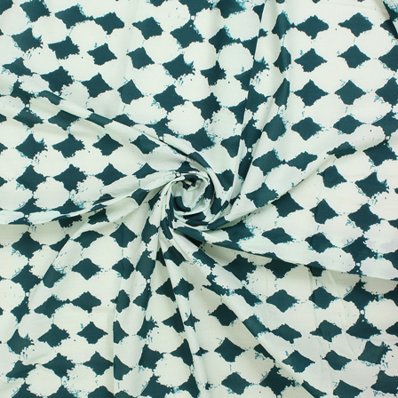 White and Green Square BlockCotton Fabric-14579