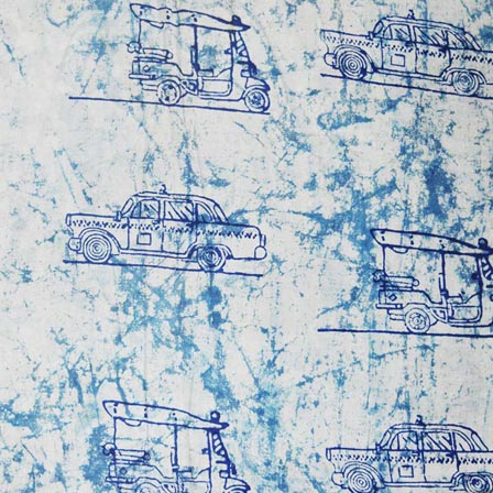 White and Indigo Blue Automobiles Indian Cotton Fabric by the yard