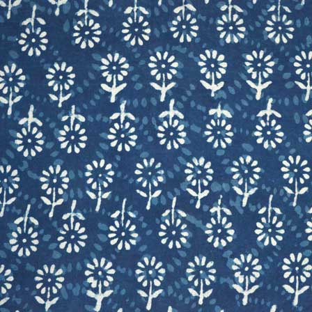 Buy White And Indigo Blue Flower Print Indian Cotton