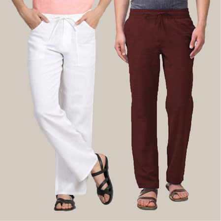 Combo of 2 Cotton Men Handloom Pant White and Maroon-35970