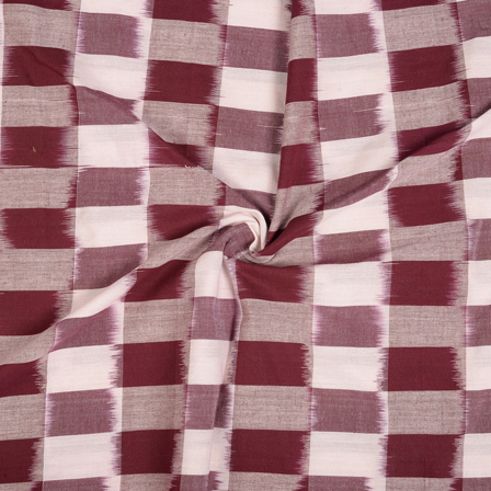 White and Maroon Cotton 3D Ikat Fabric-12101