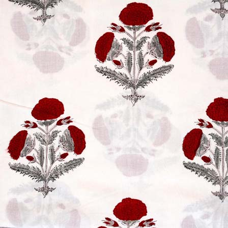 White and Maroon Tree Pattern Indian Block Print Fabric by the yard