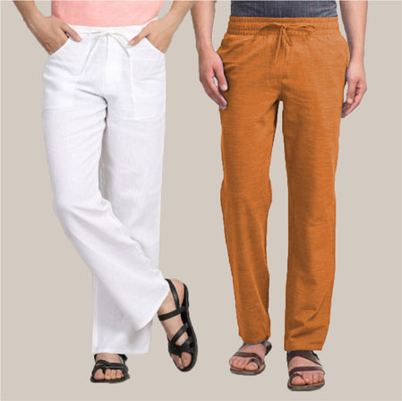 Combo of 2 Cotton Men Handloom Pant White and Mustard-35976