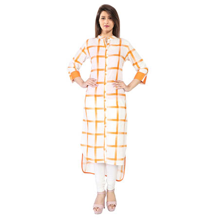 White and Orange 3/4 Sleeve Checks Print Cotton Kurti-3124