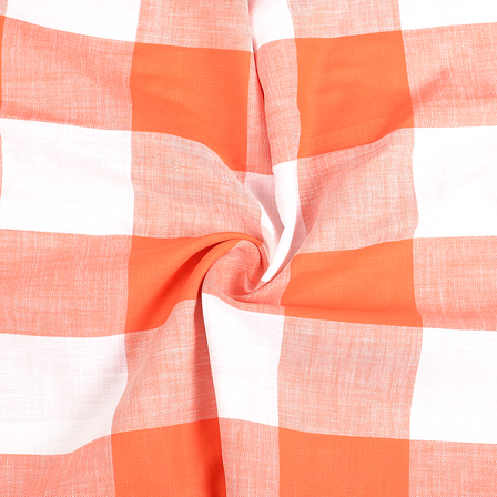 White and Orange Checks Handloom Cotton Khadi Fabric-40286