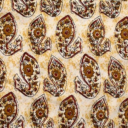 White and Orange Fish Pattern Block Print Cotton Fabric-RL4311