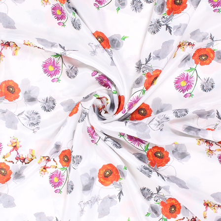 White and Orange Flower Silk Crepe Fabric-18133