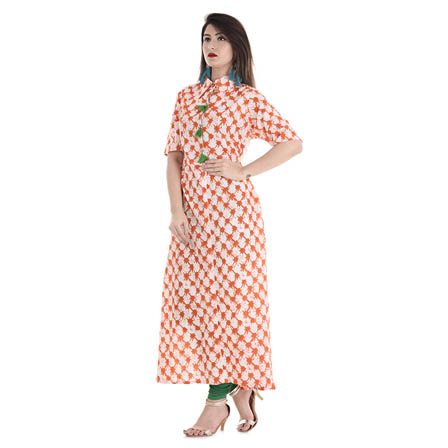 White and Orange Half Sleeve Shirt Collar Style With Tassel Cotton Kurti-3099