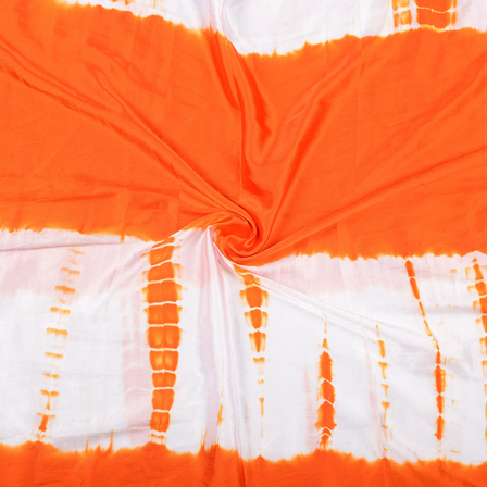 White and Orange Satin Batik Fabric-32057