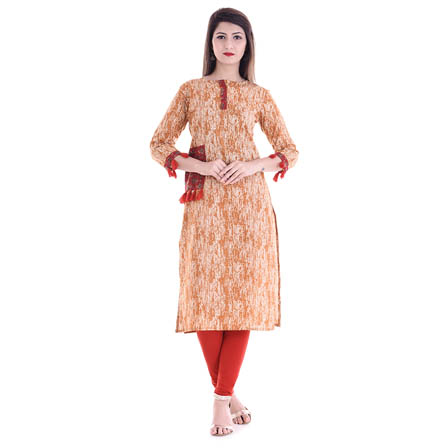 White and Peach 3/4 Sleeve Tassel Design Cotton Kurti-3095