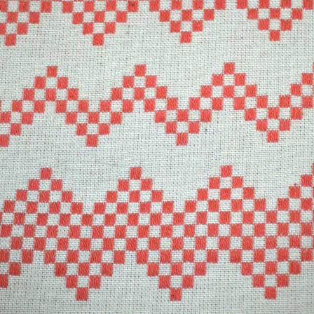 White and Peach Zig Zag Design Cotton Jacquard Fabric-31041