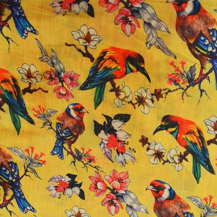 White and Pink Bird Digital Print On Yellow Silk Fabric-24024