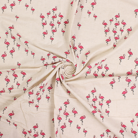 White and Pink Block Print Cotton Fabric-14562