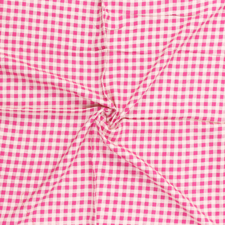 White and Pink Checks Pattern Block Print Cotton Fabric-15055