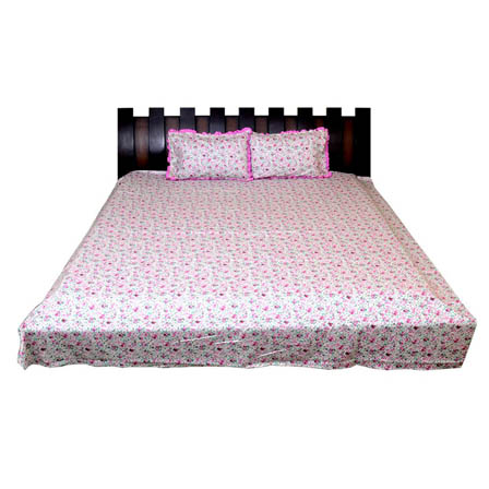 White and Pink Floral Printed Cotton Double King Size Bed Sheet-0G27