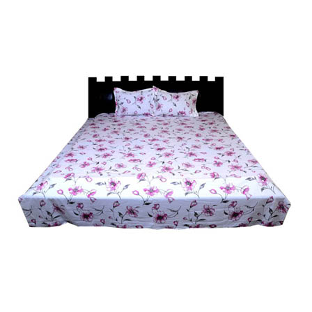 White and Pink Floral Rajasthani Cotton Double Bed Sheet-0D45