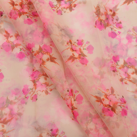 White and Pink Flower Design Organza Silk Fabric-50003