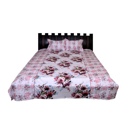 White and Pink Flower Printed Cotton Double Bed Sheet-0G81