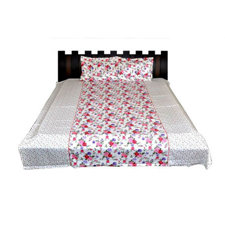 White and Pink Flower Printed Cotton Double Bed Sheet-0GETA04W