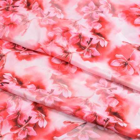 White and Pink Flower Silk Crepe Fabric-18118