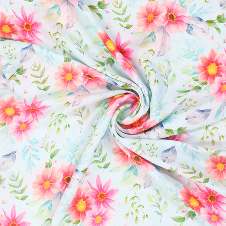 White and Pink Flower Silk Crepe Fabric-18132