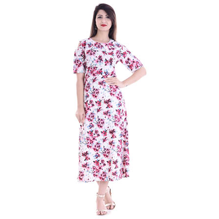 White and Pink Half Sleeve Cold Shoulder Floral Print Rayon Kurti-3089