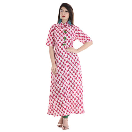 White and Pink Half Sleeve Shirt Collar Style With Tassel Cotton Kurti-3098