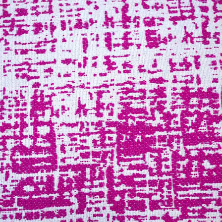 White and Pink Unique Pattern Cotton Jacquard Fabric-31004