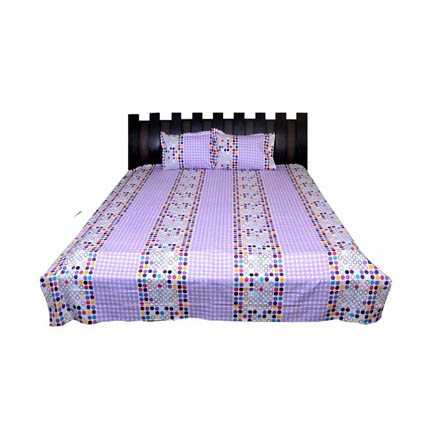 White and Purple Checks Rajasthani Cotton Double Bed Sheet-0D37