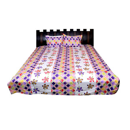 White and Purple Rajasthani Kalamkari Print Cotton Double Bed Sheet-0D12