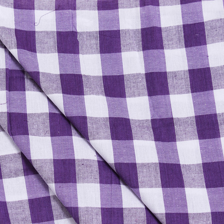 White and Purple Tom Tom Checks Handloom Cotton Khadi Fabric-40034