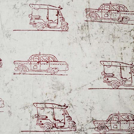 White and Red Automobiles Indian Cotton Fabric by the yard